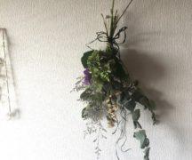 【現品購入】ユーカリ・スターチス・アジサイのシンプルスワッグ